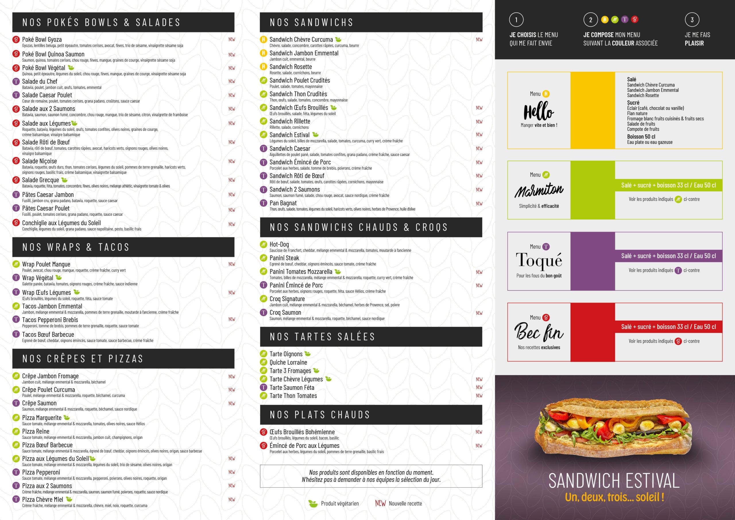 Carte restaurant été 2020